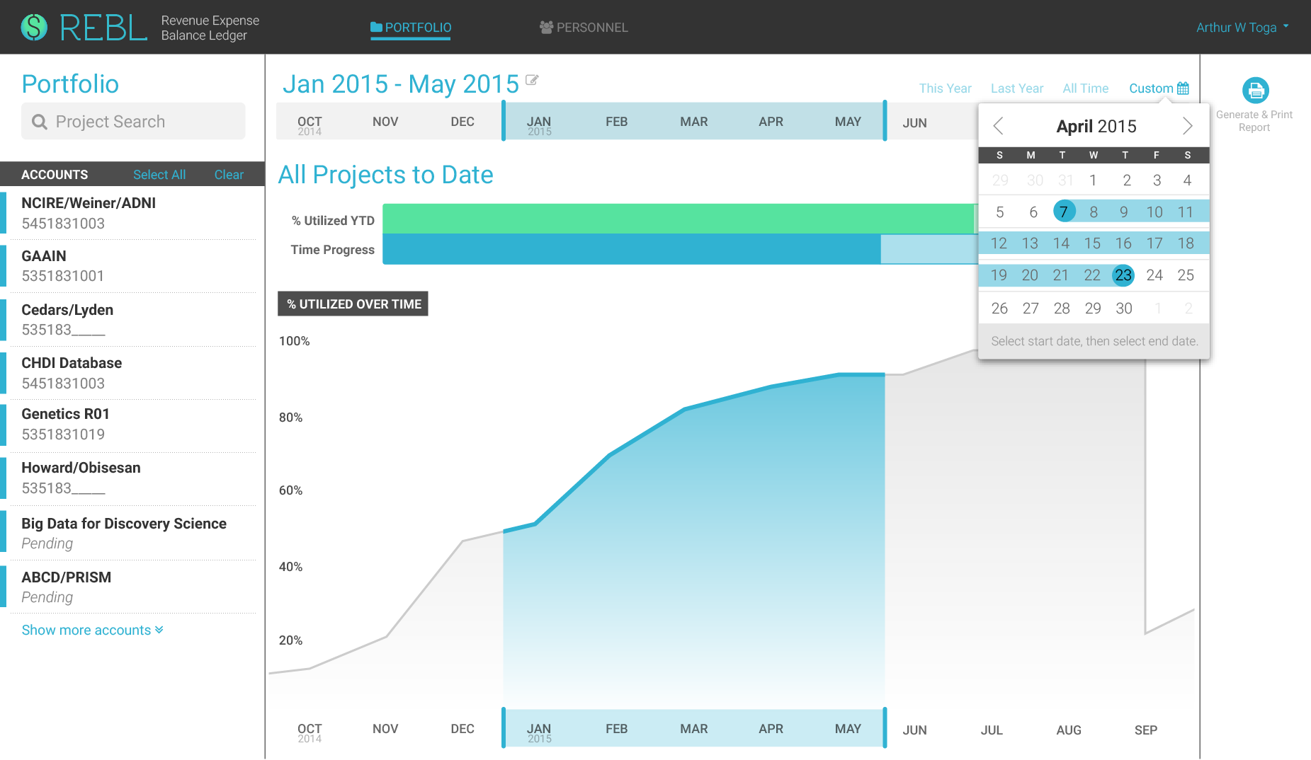Color mockup for portfolio dashboard with chart and date