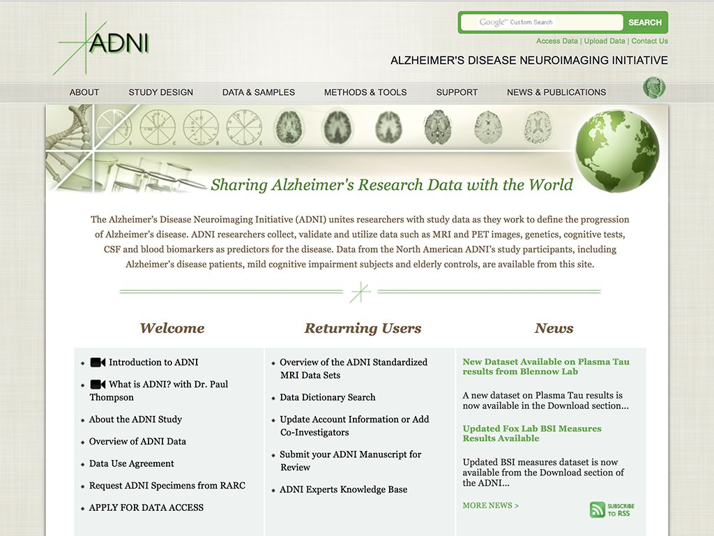 Old design of the ADNI homepage